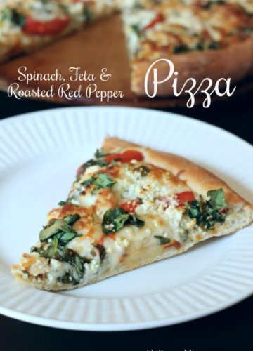 Spinach, Feta and Roasted Red Pepper Pizza {Recipe}