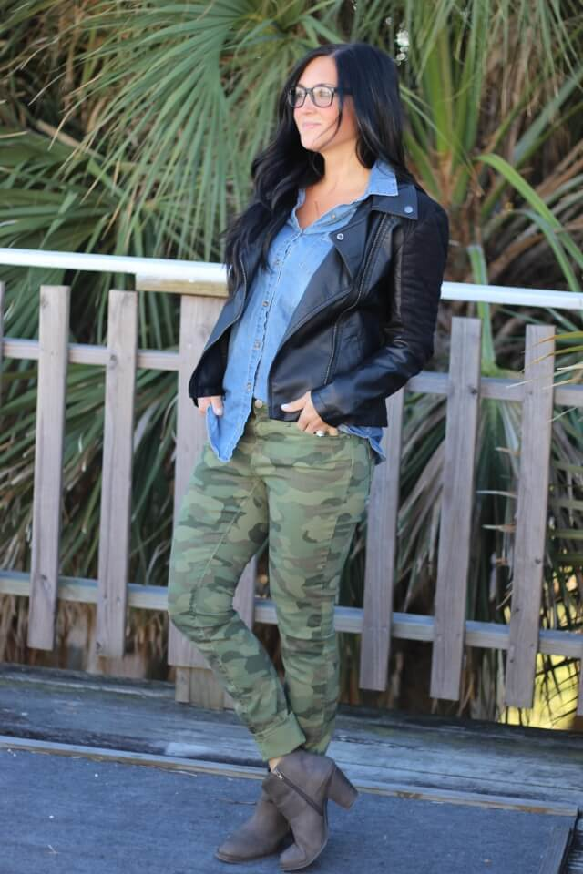 Camo, leather and chambray via Stilettos and Diapers