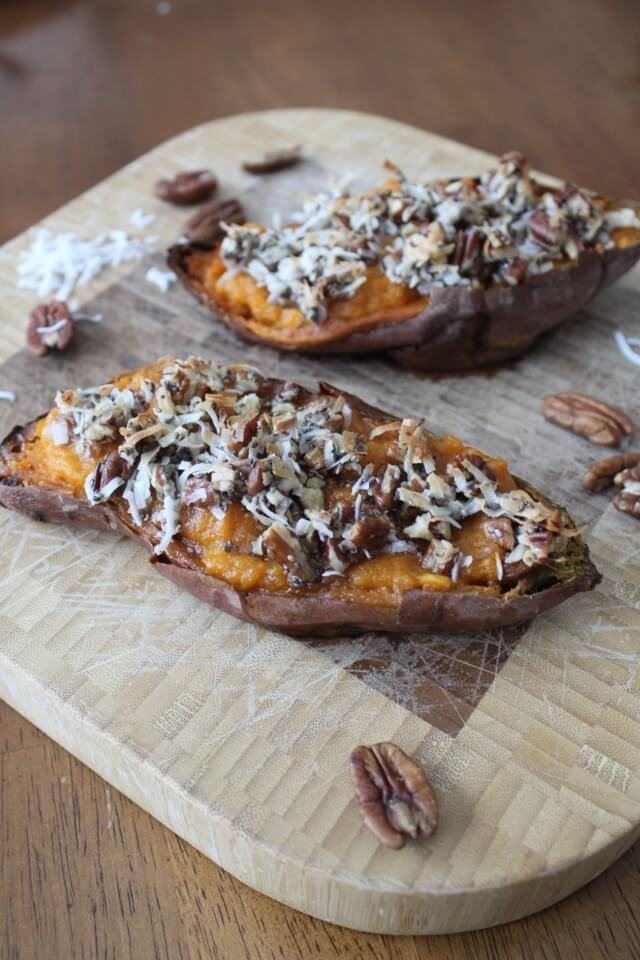 Twice Baked Sweet Potatoes: Paleo, gluten free, sugar free.