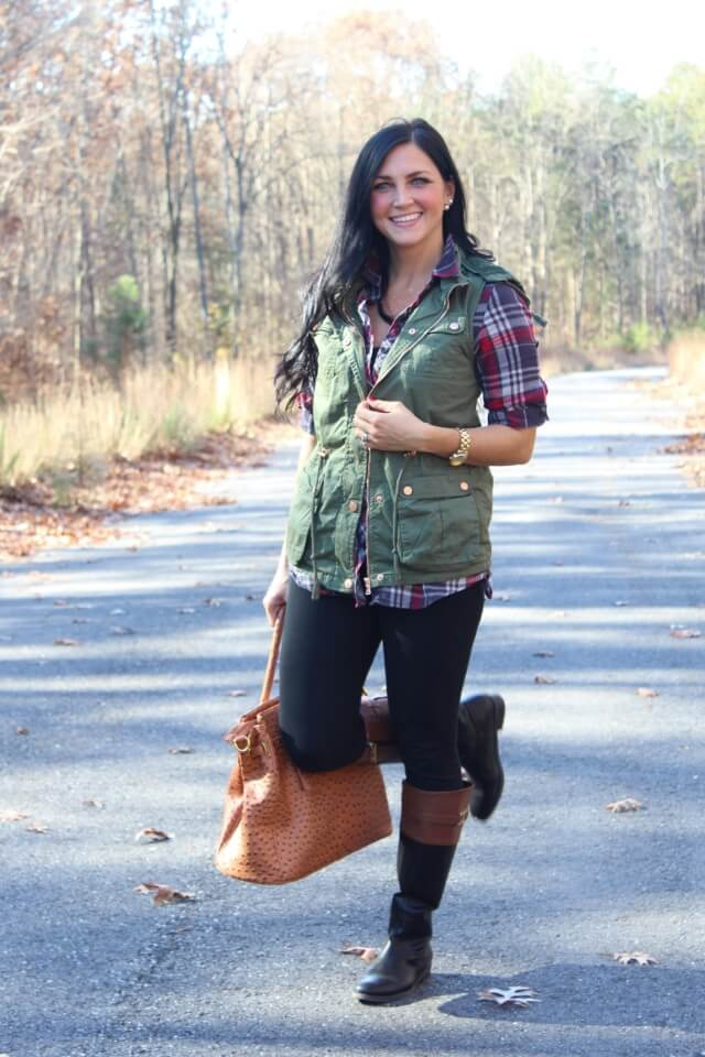 Flannel, Leggings, Vest and Riding Boots via Stilettos and Diapers