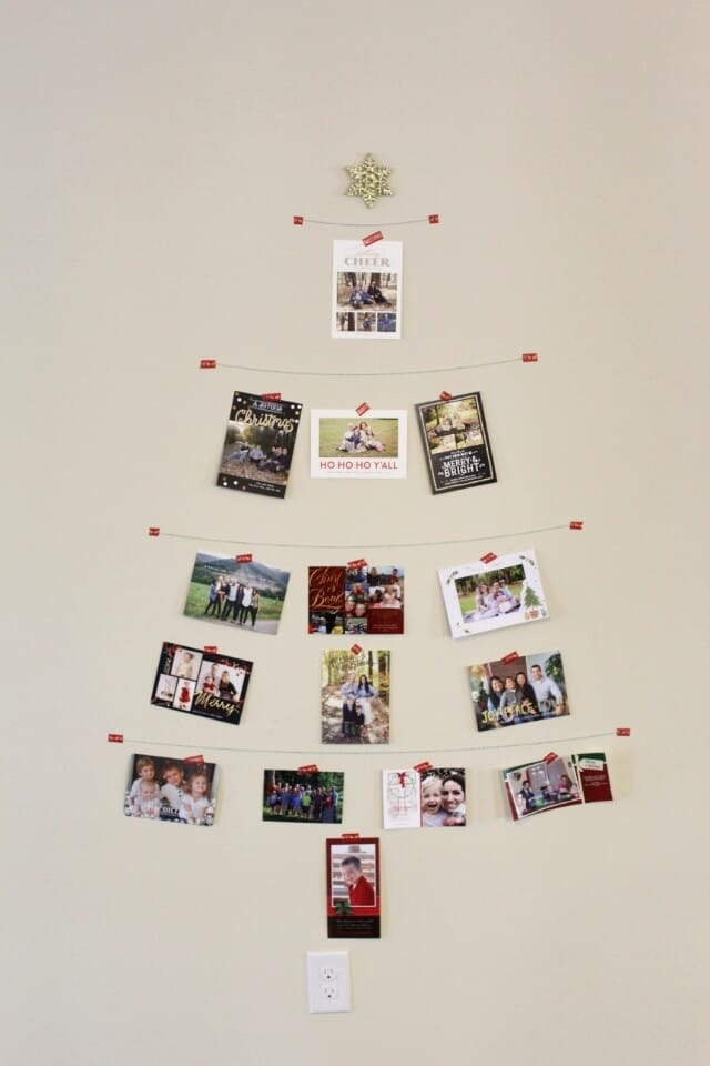 Christmas Card Tree via Stilettos and Diapers