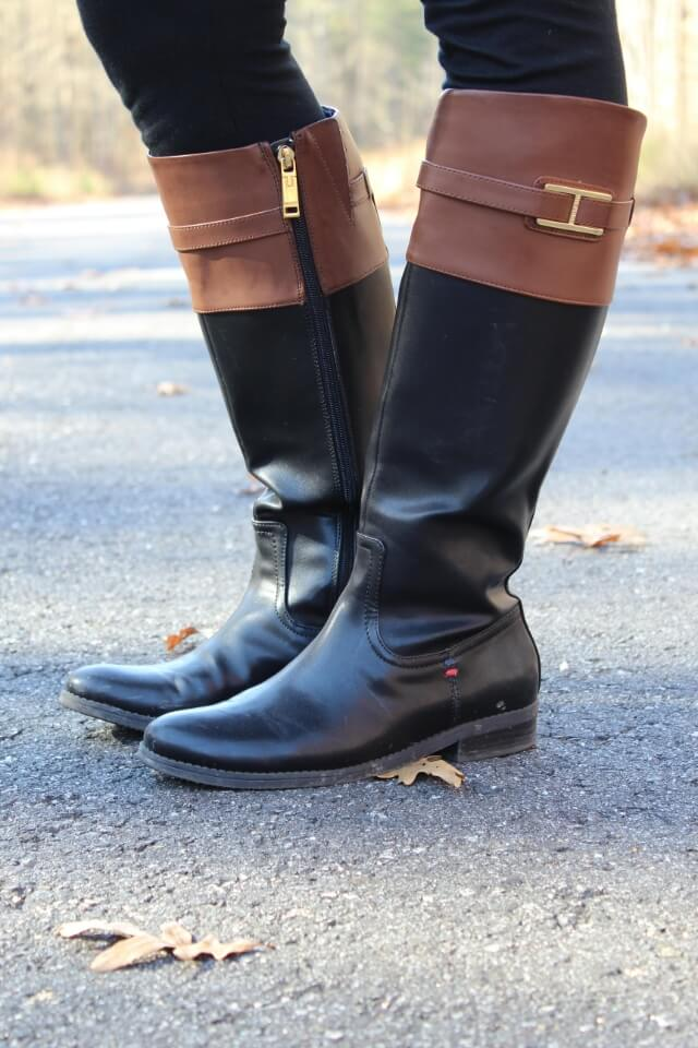 Black and Brown Riding Boots from @RackRoomShoes via Stilettos and Diapers