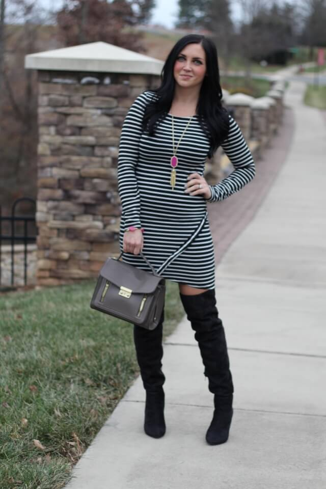 Asymmetric Striped Dress via Stilettos and Diapers