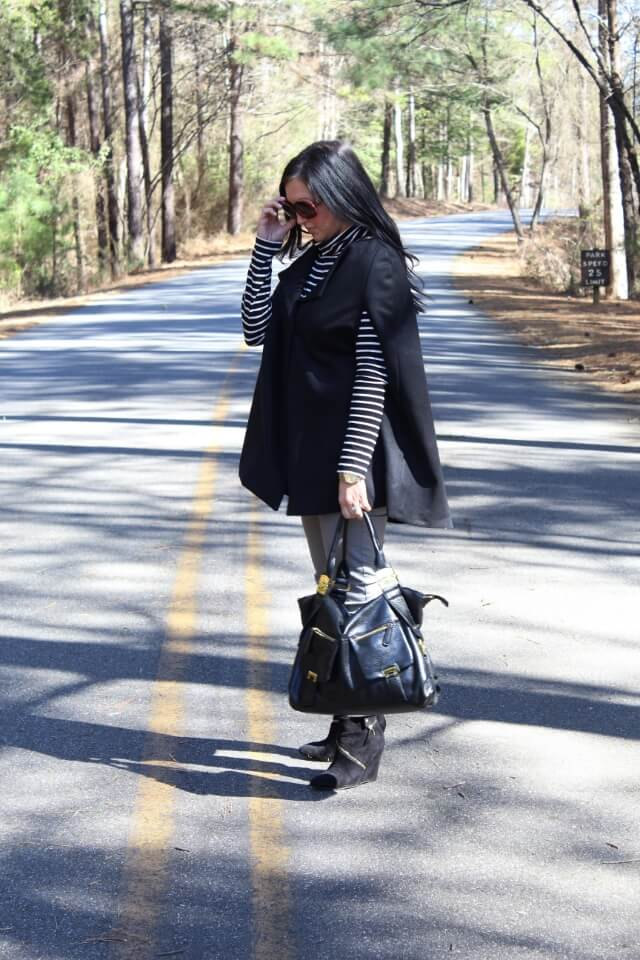 Cape jacket and stripes via Stilettos and Diapers
