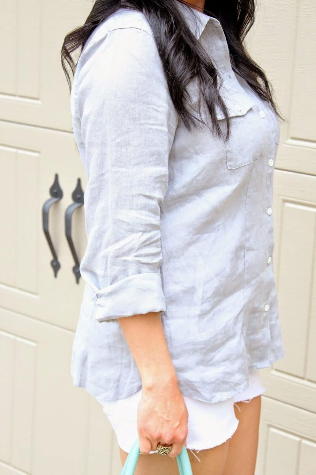 J. JIll Linen Shirt, White Shorts