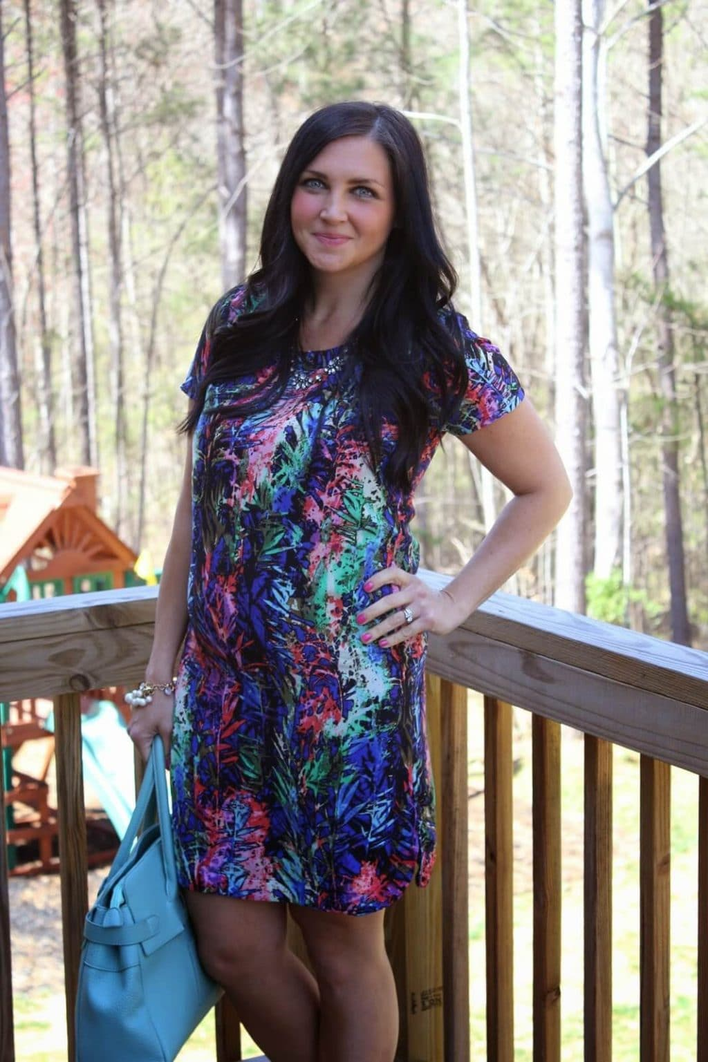 Multi color Easter Dress, 17 weeks pregnant.