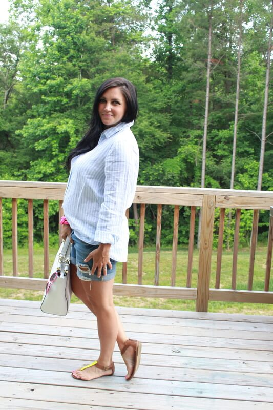 Boyfriend denim shorts, J.Jill linen shirt, pink frame aviator: Stilettos and Diapers