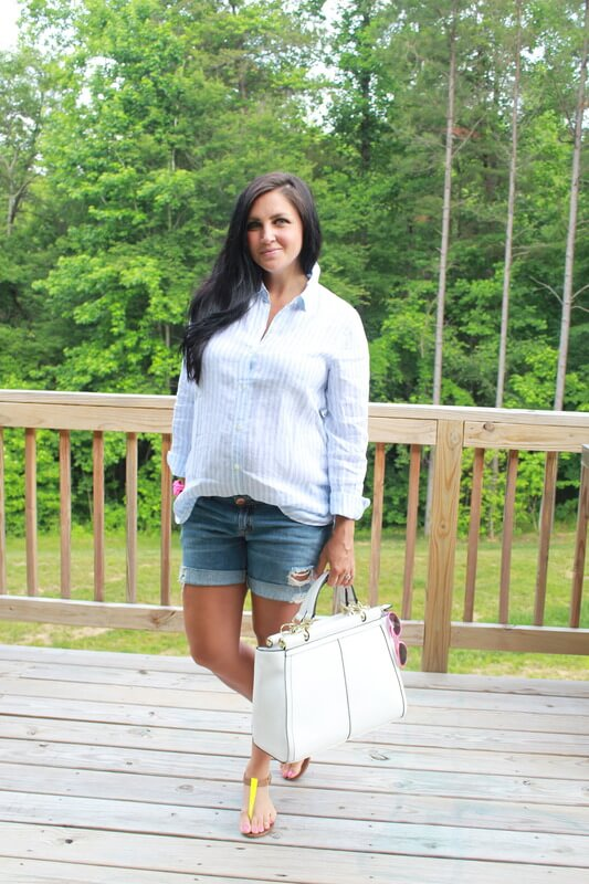 Boyfriend denim shorts, linen shirt, neon pops: Stilettos and Diapers