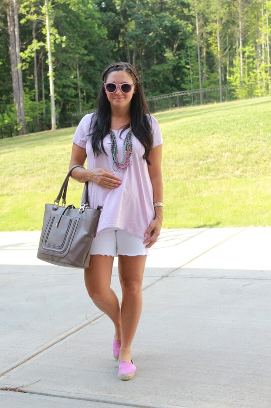 Casual Maternity Style via Stilettos and Diapers