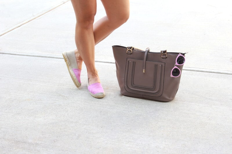 J. Jill Espadrilles, JustFab Bag via Stilettos and Diapers