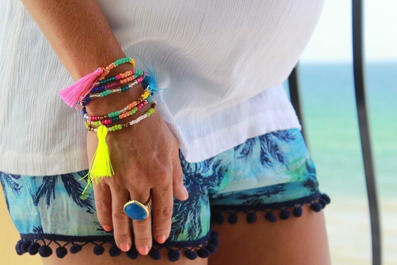 Pom Pom Shorts, Embroidered Top, Maternity Style, Tassel Bracelet