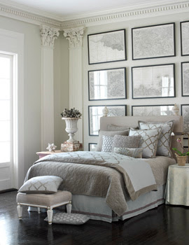 Khaki and white bedding bedroom