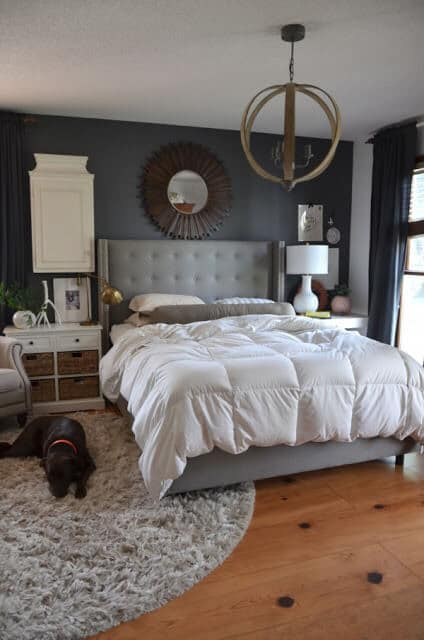Grey and wood neutral master bedroom