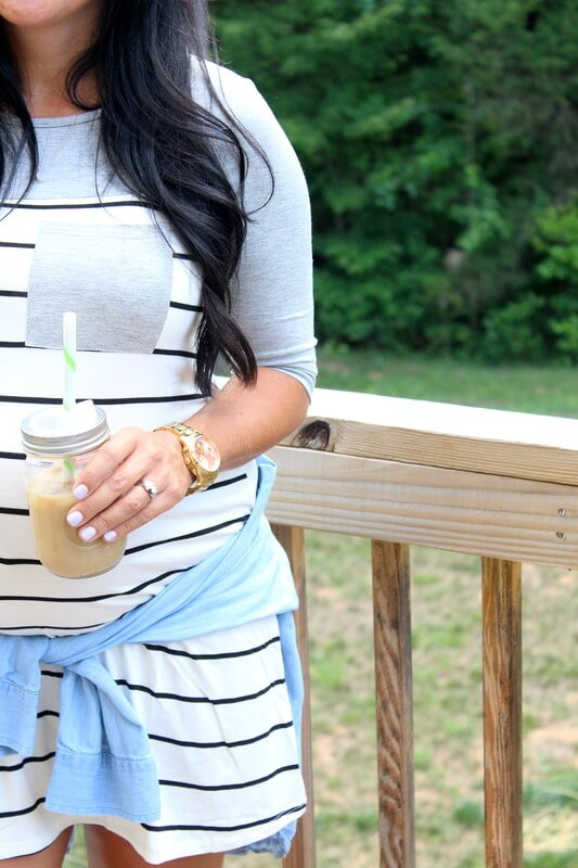 Iced Coffee, Stripe Maternity Tunic