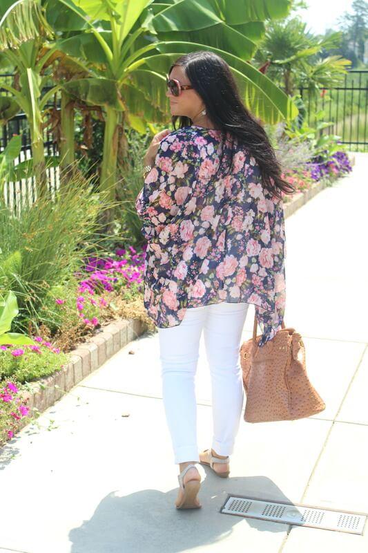 Floral Kimono, White J Crew Jeans