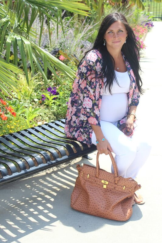 Floral Kimono, Pink Blush Maternity, White J Crew Jeans
