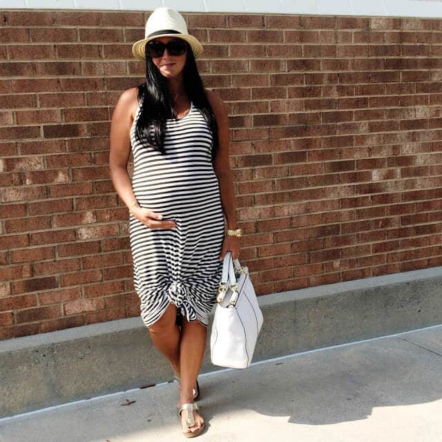 Maternity Style for Summer, Stripe Maxi, Straw Fedora