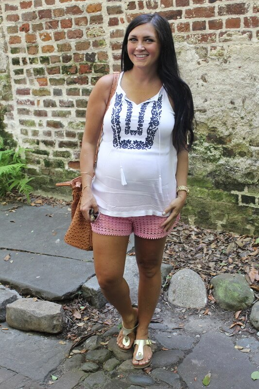 White embroidered top, Lilly for Target shorts