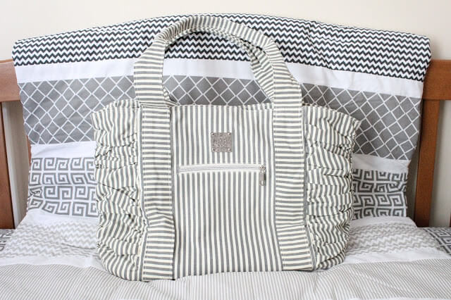 Bella Tunno Diaper Bag, Grey Stripe Diaper Bag
