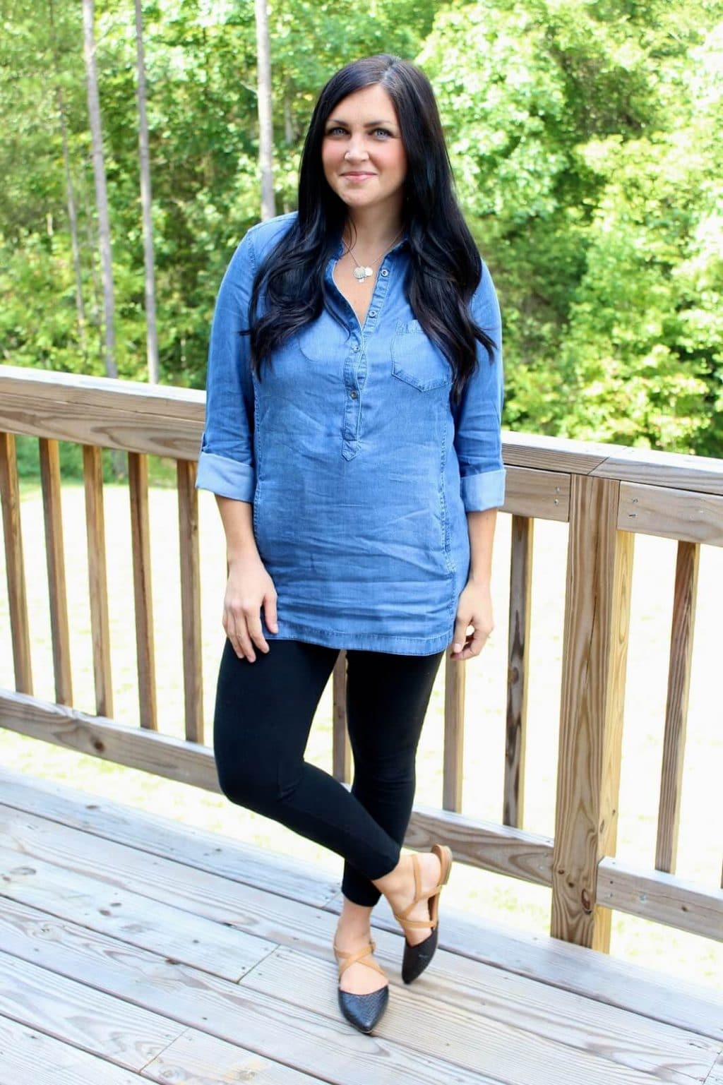 Chambray Tunic, Black Leggings, Postpartum Style: Molly at Stilettos and Diapers