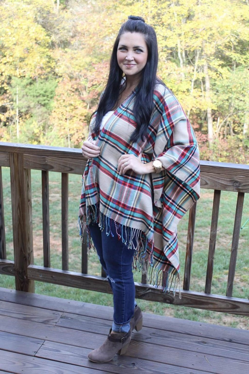 Blanket Scarf Poncho, Booties