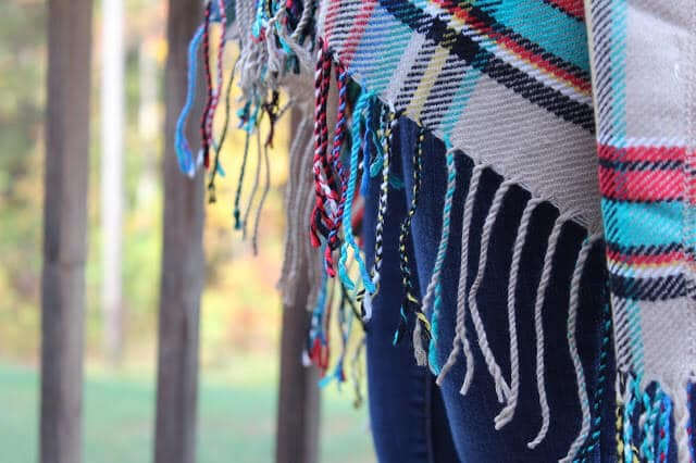 Fringe blanket scarf poncho