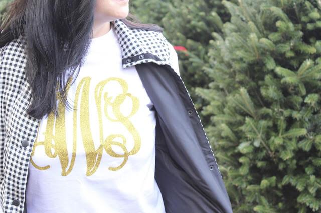 Glitter monogram shirt