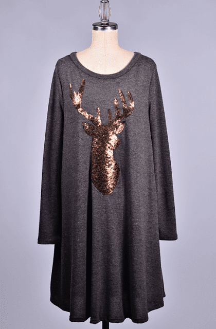 sequin reindeer dress, molly suzanne