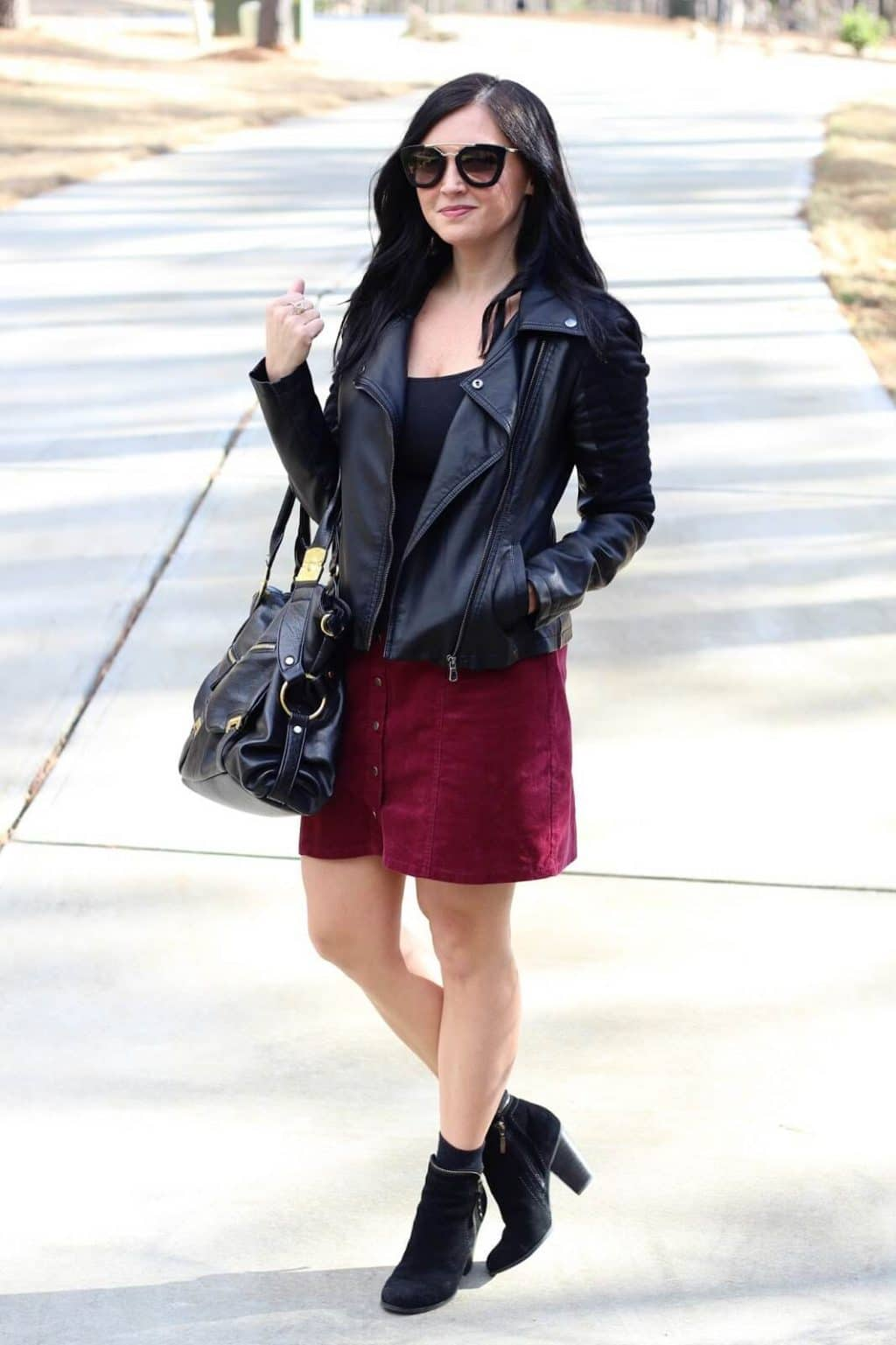 Skirt with Booties, leather jacket, prada sunglasses
