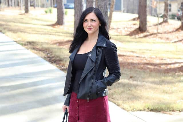 Button Front Corduroy Skirt, Leather Jacket