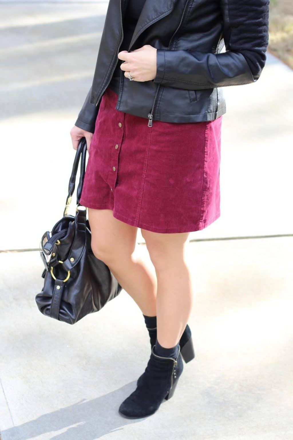 Burgundy Button Front Corduroy Skirt