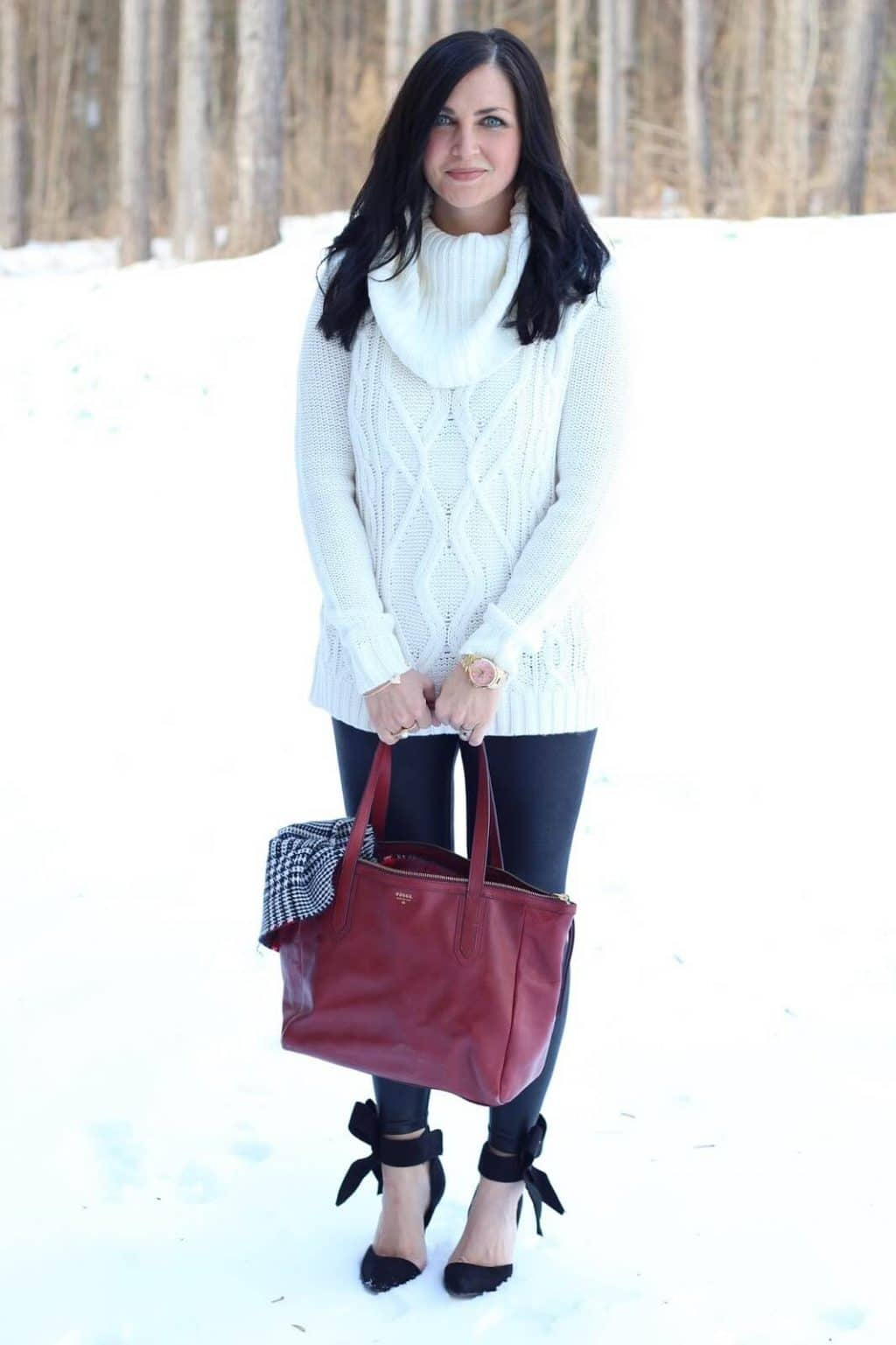 Leather Leggings, Ankle Bow Heels, cable knit sweater