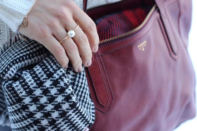 Plaid Blanket Scarf, red Fossil Tote