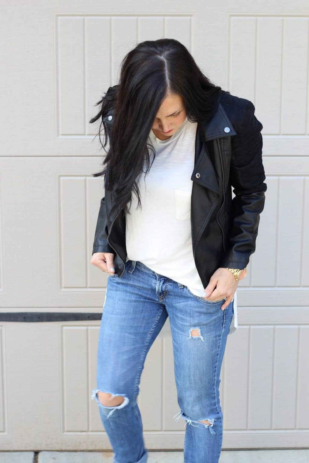 Leather moto jacket, distressed jeans