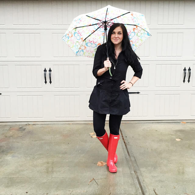 Hunter boots, rainy day outfit