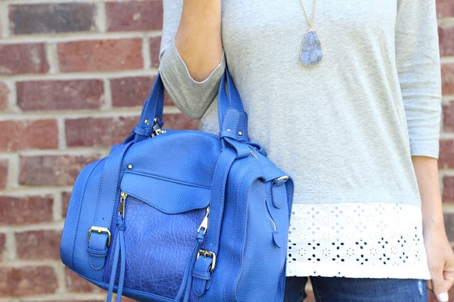 Blue Satchel, eyelet top