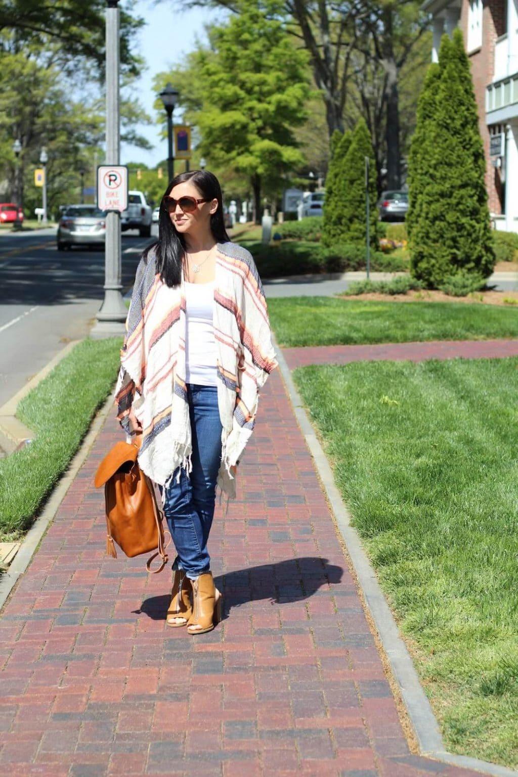 Striped poncho, skinny jeans