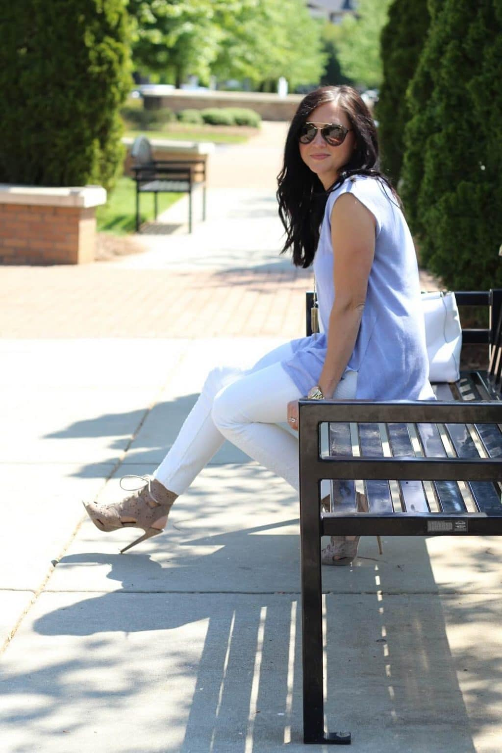 lace up spring bootie, white skinny