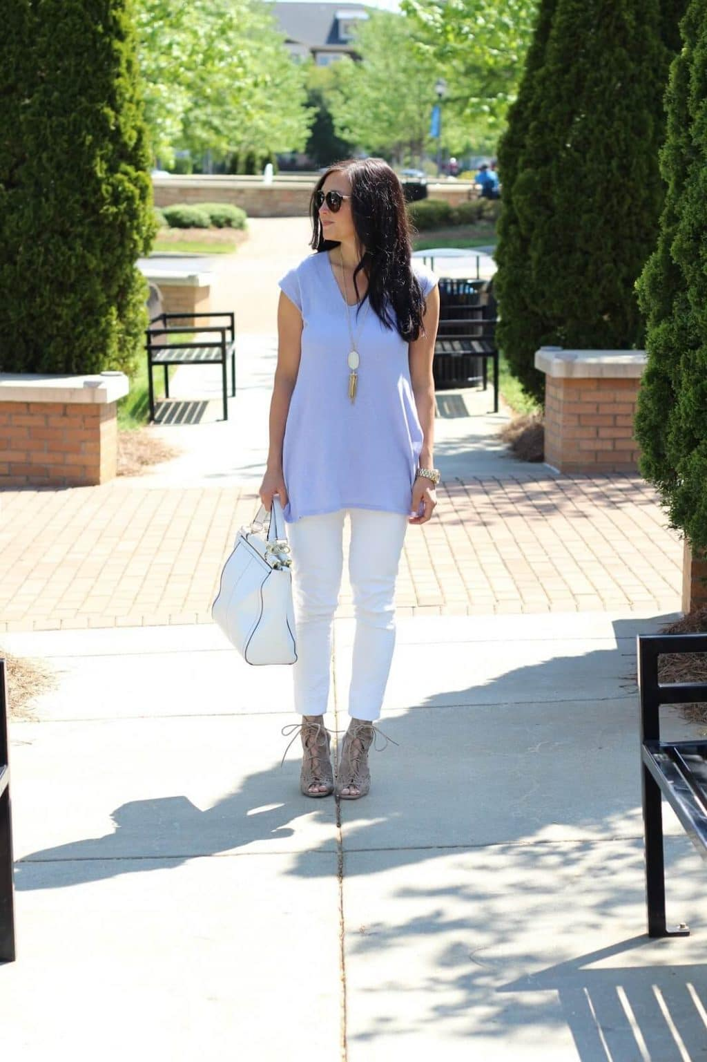 J. Jill tunic, white jeans, lace up cutout heels