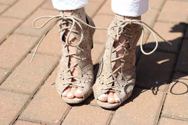 tan lace up cut out heels