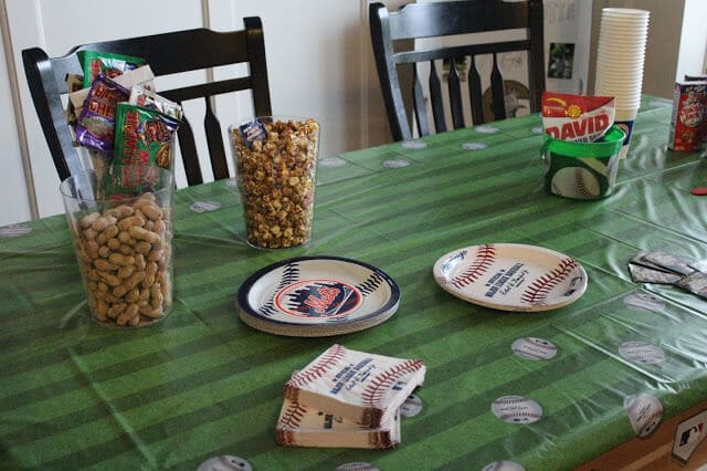 Baseball party, cracker jacks, big league chew