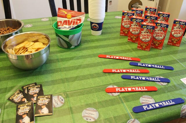 Baseball party, cracker jacks, mets