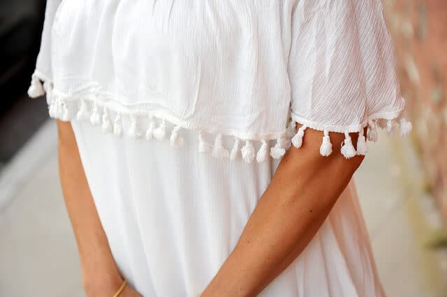 white off should tassel dress