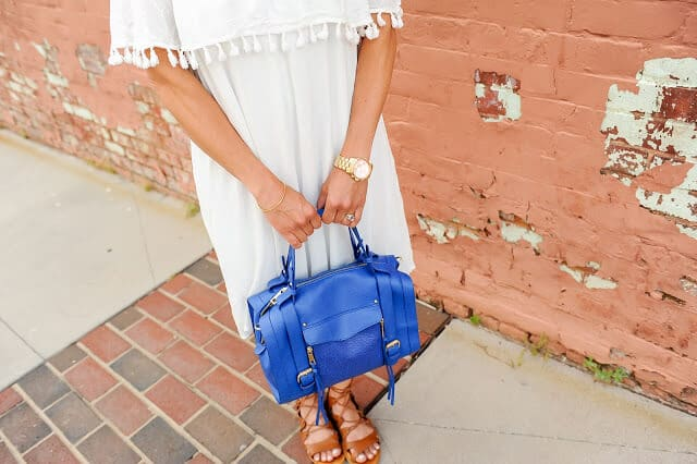 white off shoulder tassel dress, royal tote, lace up sandals