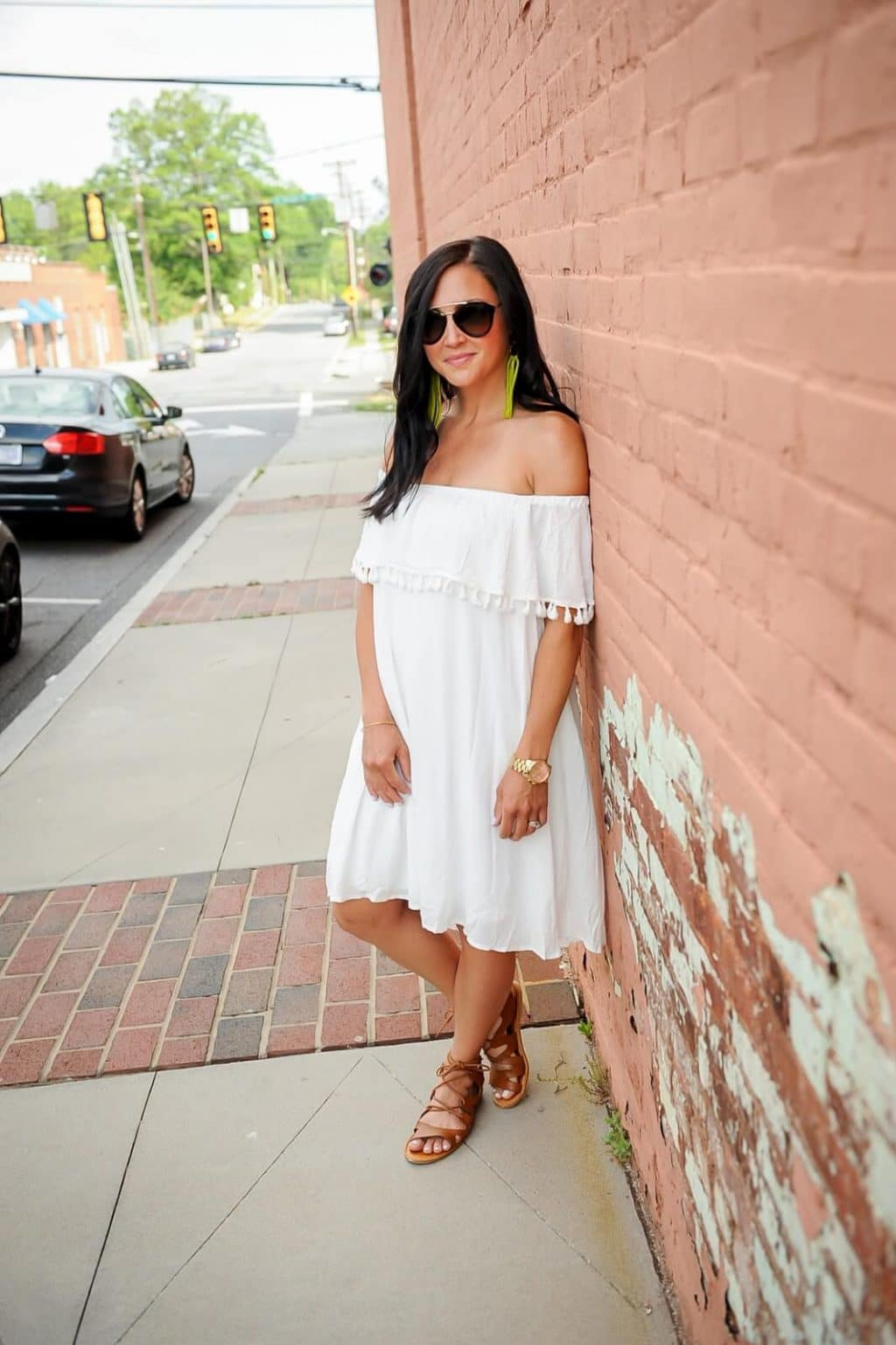 Molly Suzanne white off shoulder tassel dress, lace up sandals, prada sunglasses, Amanda Overmeyer Photography