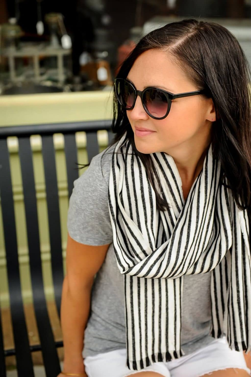 black and white striped scarf, j crew,