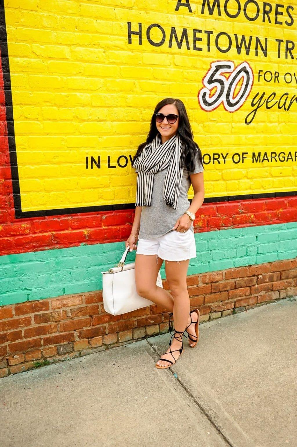 Grey Tee, White Shorts, Striped Scarf, Amanda Overmyer Photography