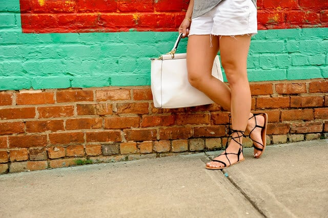 lace up sandals, white tote, white shorts,