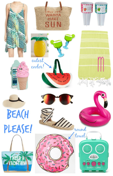 Best beach accessories, donut towel, flamingo float, beach radio, ice cream phone