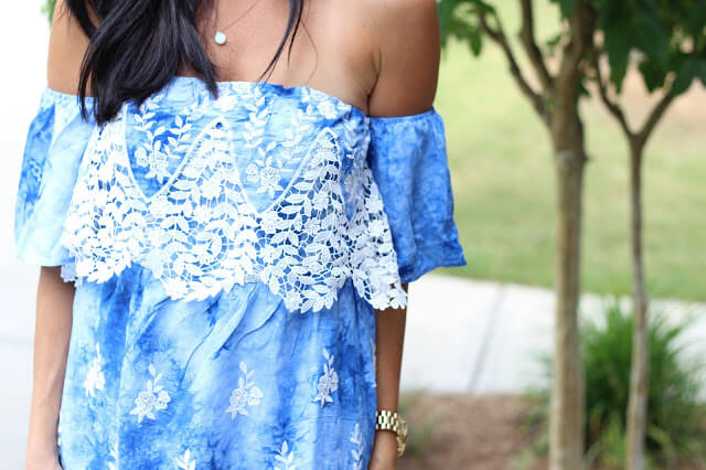 Blue Crochet off shoulder dress